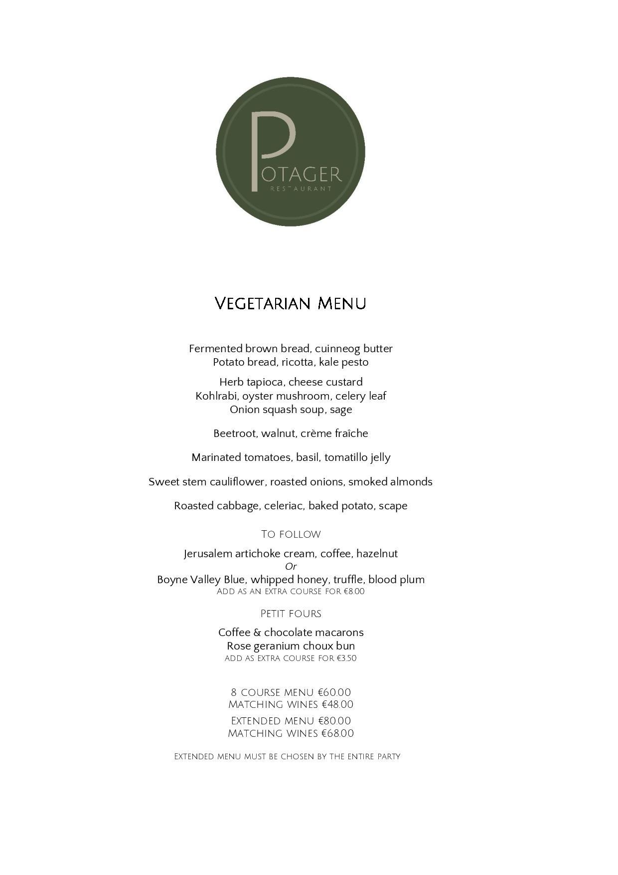 Potager Vegetarian Menu €60